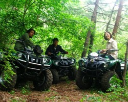 Wild ATV riding experience in a forest near Mt  Fuji